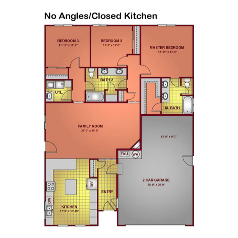 Model 1596 - No Angles & Closed Kitchen Floor Plan