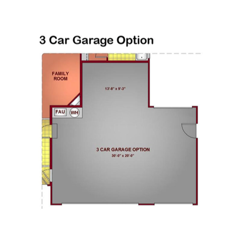 Model 1596- 3 Car Garage Option