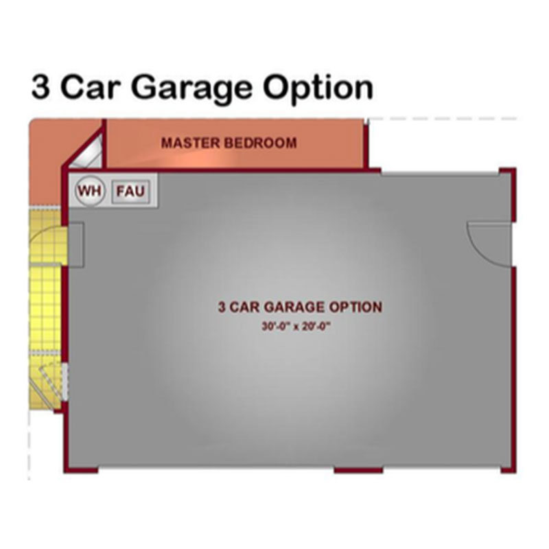 Model 1731 - 3 Car Garage Floor Plan