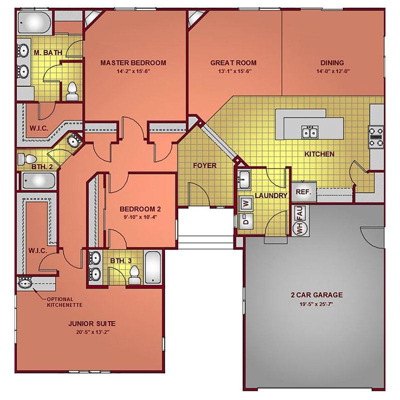 Model 1977 - Junior Suite Floor Plan